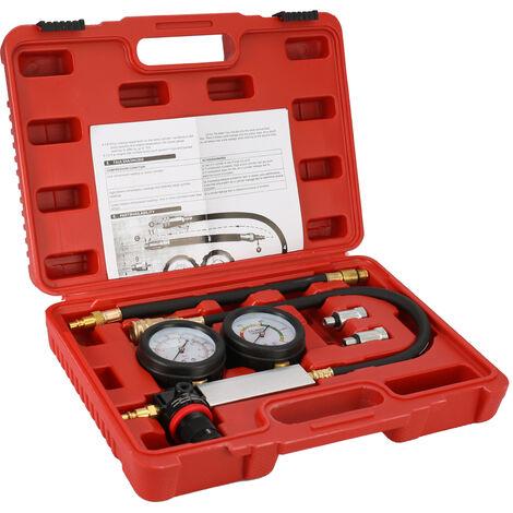 Cylindre Automatique De Fuite Testeur De Compression Detecteur De Fuite Kit Set Moteur A Essence Jauge Tool Kit Double Jauge Systeme Avec Etui