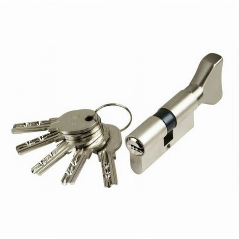 Cylindre Cavers ISEO City ISR6 - Variure AGL012637 - 1 entrée de clé + 1 bouton - Nickelé - 30B x 50 mm