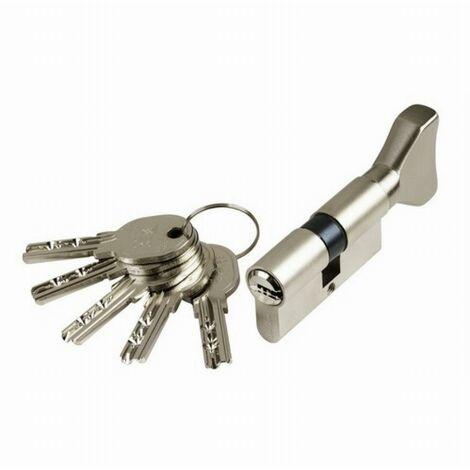 Cylindre Cavers ISEO City ISR6 - Variure AGL012637 - 1 entrée de clé + 1 bouton - Nickelé - 30B x 70 mm