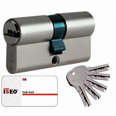 Cylindre Cavers ISEO City ISR6 - Variure AGL012637 - 2 entrées de clé - Nickelé - 40 x 50 mm