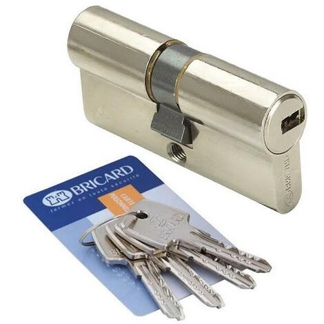 Cylindre de porte 30 x 40 mm BRICARD ASTRAL 4 cles et carte Barillet de securite double entree