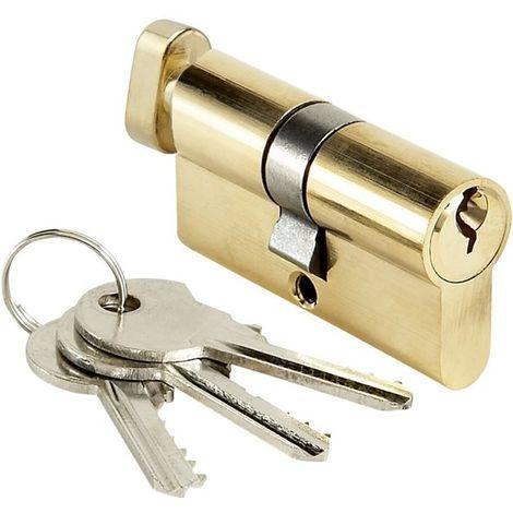 Cylindre de porte 30x30 mm Barillet de serrure à bouton BRICARD 3 clés