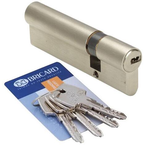 Cylindre de porte debrayable 30x70 mm BRICARD ASTRAL 4 cles et carte Barillet de securite
