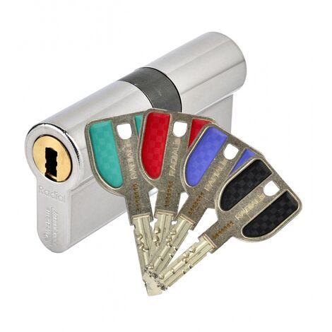 Cylindre double breveté type RADIALIS à clé protégée varié 3 clés 42,5 X 42,5