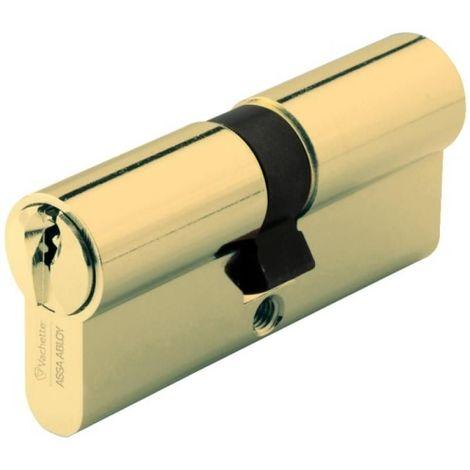 Cylindre double de sûreté 30 x 80 en laiton poli - Profil européen varié - Série 7000