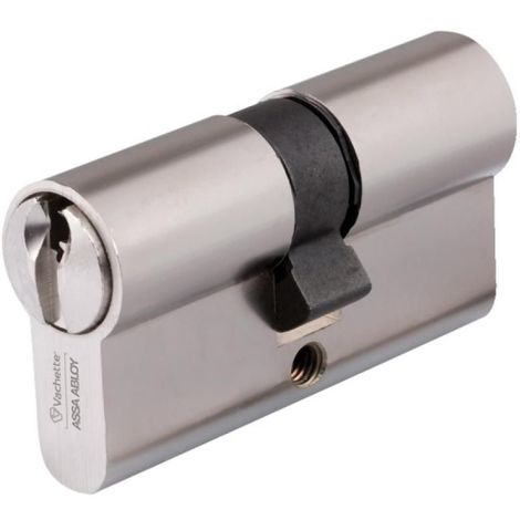 Cylindre double de sûreté 40 x 40 en laiton nickelé satiné Profil européen s'entrouvrant sur numéro UA1001 Série V5 7101