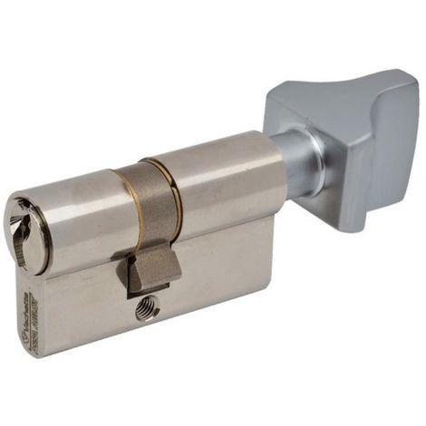 Cylindre double de sûreté à bouton 30 x 30 en laiton nickelé satiné - Profil européen varié - Série 3001