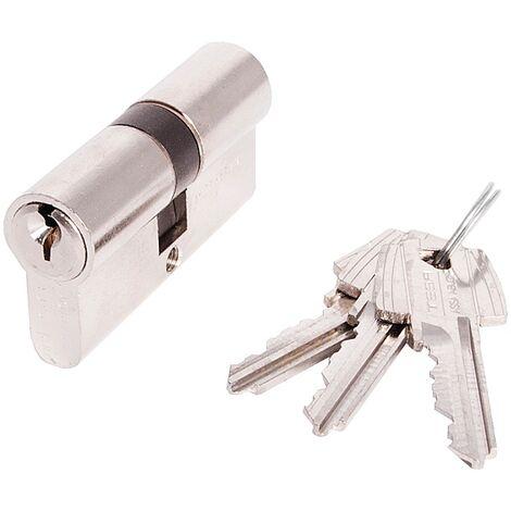 Cylindre double de sûreté TE-5 varié 40 x 55 finition laiton nickelé 3 clés