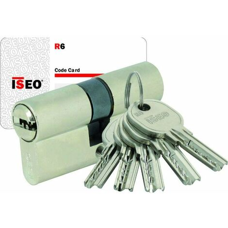Cylindre double IS-R6 Iseo - 5 Clés - Sur numéro AGL009726 - 40x60 - Laiton nickelé