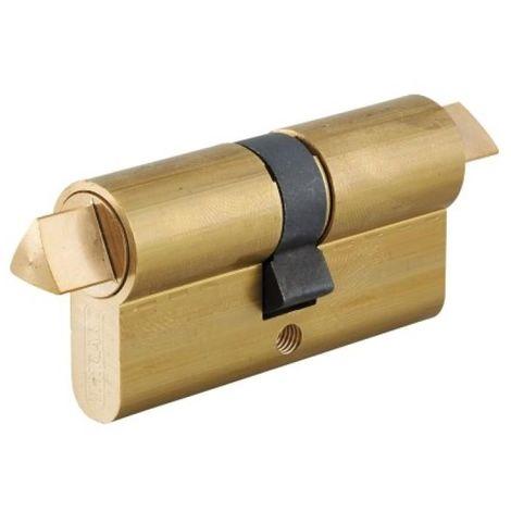 Cylindre double LP 30 x 30 mm à fonction pompier modèle triangle/triangle sortants en 14 mm