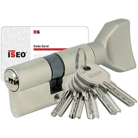 Cylindre Iséo R6 nickelé à bouton 5 clés réversibles + carte de réappro 30 x 30