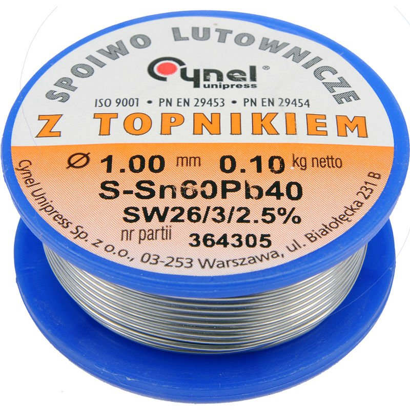 Image of Cynel professional solder wire 60/40 0.5-3mm with flux SW 26-2.5%, diameter 1.0 mm weight 100g REEL