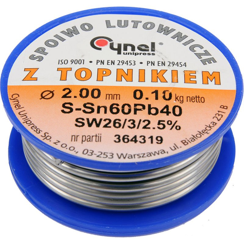 Image of Cynel professional solder wire 60/40 0.5-3mm with flux SW 26-2.5%, diameter 2.0mm weight 100g REEL