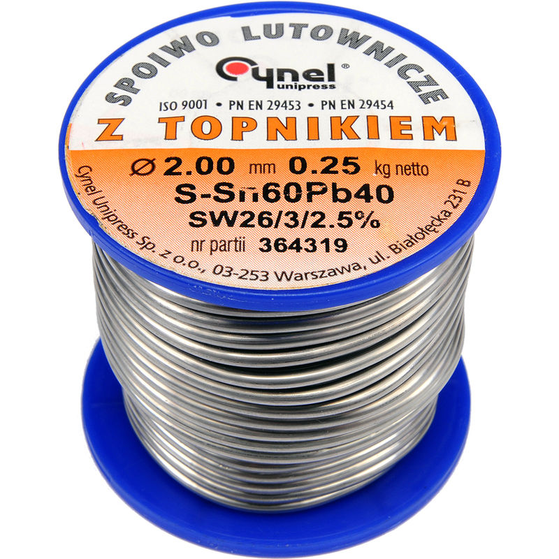Image of Cynel professional solder wire 60/40 0.5-3mm with flux SW 26-2.5%, diameter 2.0mm weight 250g REEL