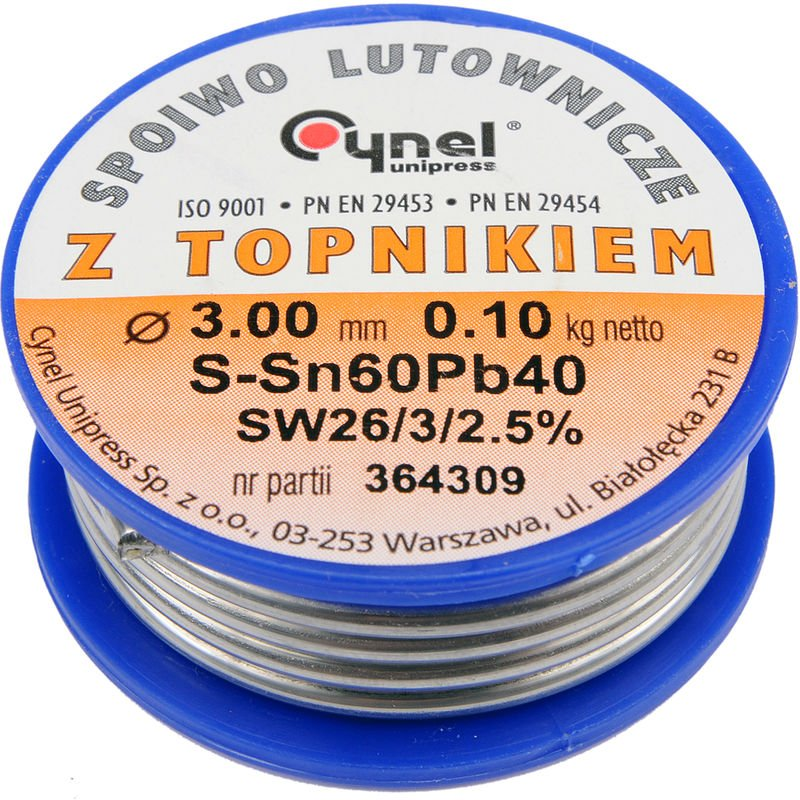 Image of Cynel professional solder wire 60/40 0.5-3mm with flux SW 26-2.5%, diameter 3.0mm weight 100g REEL