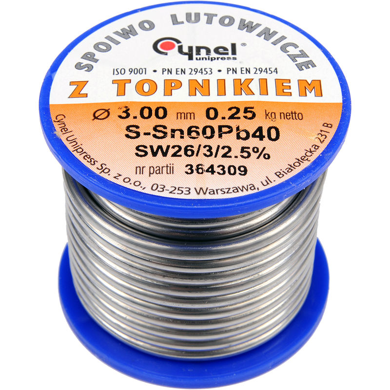 Image of Cynel professional solder wire 60/40 0.5-3mm with flux SW 26-2.5%, diameter 3.0mm weight 250g REEL