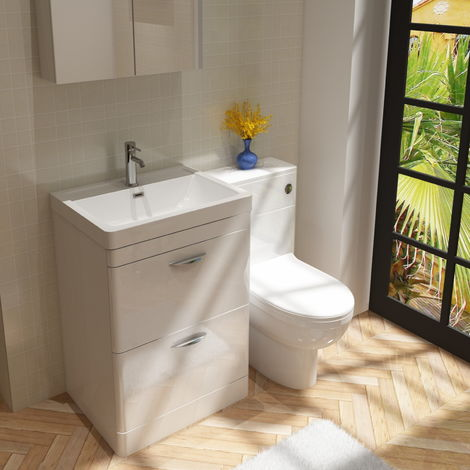 Cyrenne Vanity Basin Cabinet & WC Toilet Unit Bathroom Furniture Suite - 1100mm
