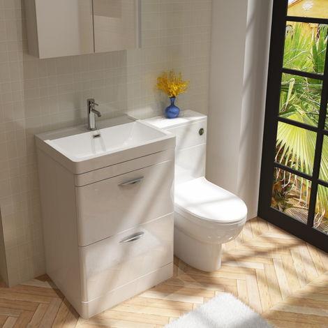 Cyrenne Vanity Basin Cabinet & WC Toilet Unit Bathroom Furniture Suite - 1300mm