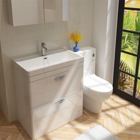 Cyrenne Vanity Basin Cabinet & WC Toilet Unit Bathroom Furniture Suite - 1400mm