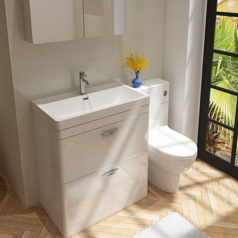 Cyrenne Vanity Basin Cabinet & WC Toilet Unit Bathroom Furniture Suite - 1400mm