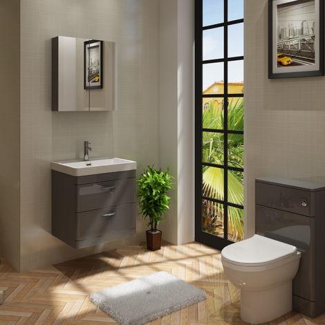 Cyrenne Vanity Basin Cabinet & WC Toilet Unit Grey Bathroom Furniture - 1100mm