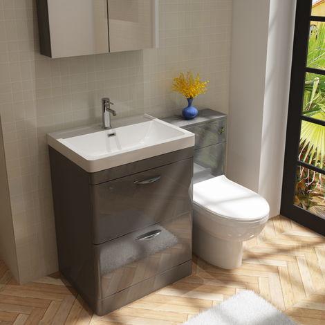 Cyrenne Vanity Basin Cabinet & WC Toilet Unit Grey Bathroom Furniture - 1200mm