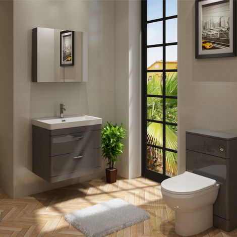 Cyrenne Vanity Basin Cabinet & WC Toilet Unit Grey Bathroom Furniture - 1200mm