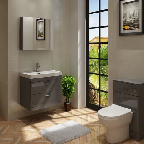 Cyrenne Vanity Basin Cabinet & WC Toilet Unit Grey Bathroom Furniture - 1300mm