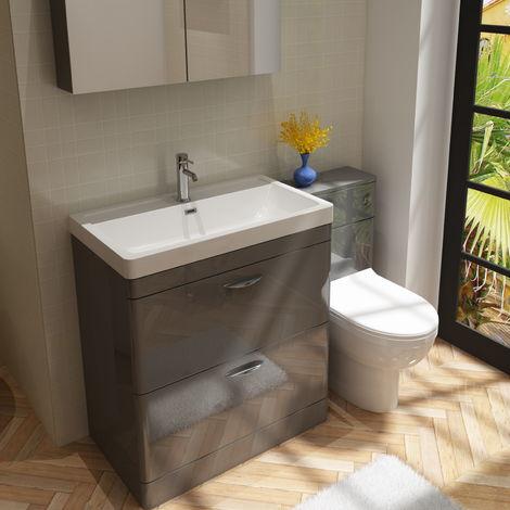 Cyrenne Vanity Basin Cabinet & WC Toilet Unit Grey Bathroom Furniture - 1300mm
