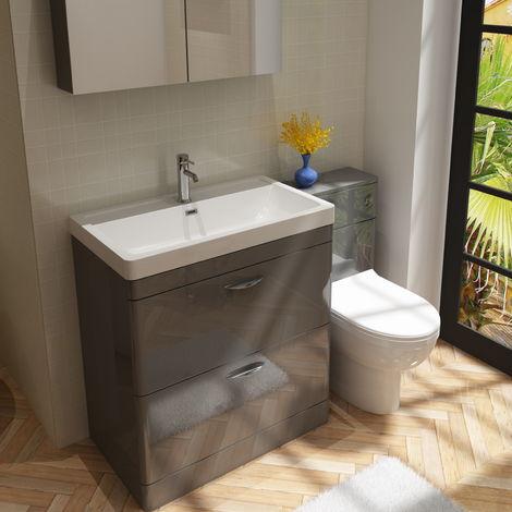 Cyrenne Vanity Basin Cabinet & WC Toilet Unit Grey Bathroom Furniture - 1400mm