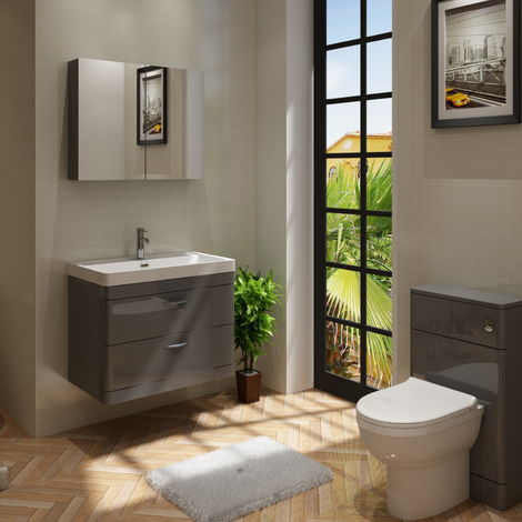 Cyrenne Vanity Basin Cabinet & WC Toilet Unit Grey Bathroom Furniture - 1400mm
