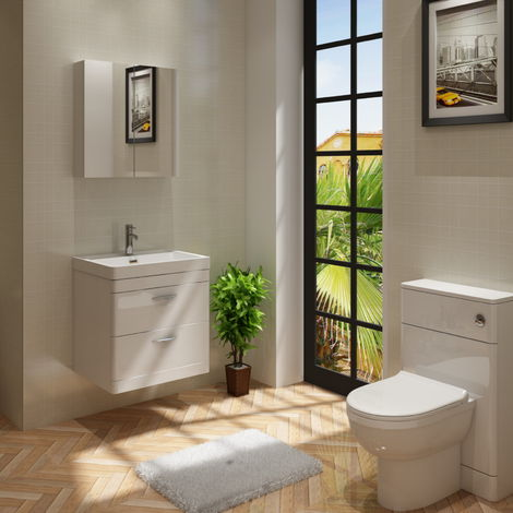 Cyrenne Wall Hung Vanity Basin Cabinet & WC Toilet Bathroom Furniture - 1100mm
