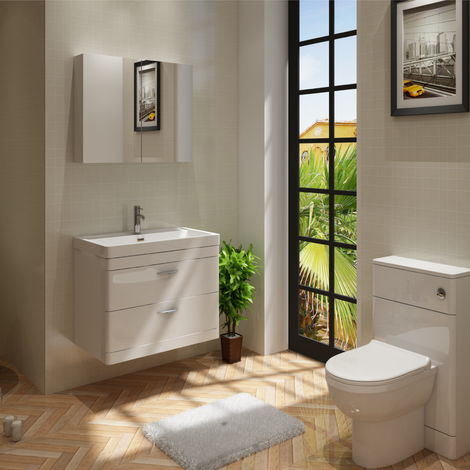 Cyrenne Wall Hung Vanity Basin Cabinet & WC Toilet Bathroom Furniture - 1400mm