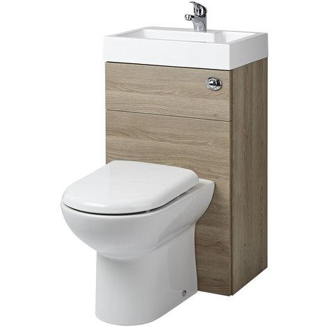 D-förmige Toilette mit Spülkasten und integriertem Waschbecken Eiche