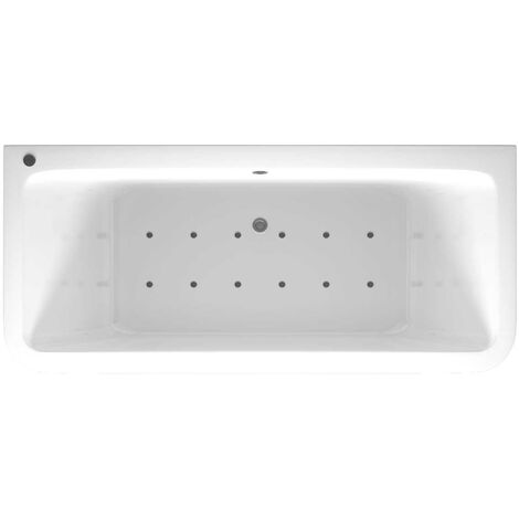 D Shaped 12 Jet Chrome Easifit Spa Whirlpool Bath 1800x800mm with Front and End Panels