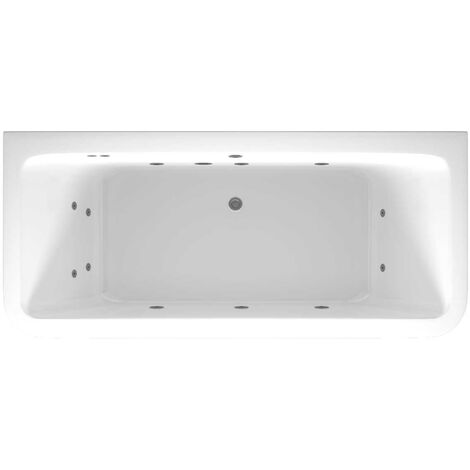 D Shaped 12 Jet Chrome Flat Jet Whirlpool Bath 1800x800mm with Front and End Panels