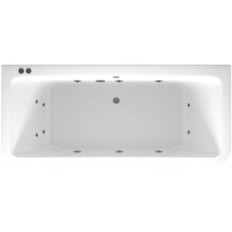 D Shaped 12 Jet Chrome V-Tec Whirlpool Bath 1800x800mm with Front and End Panels