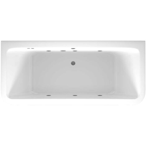 D Shaped 6 Jet Chrome Flat Jet Whirlpool Bath 1800x800mm with Front and End Panels