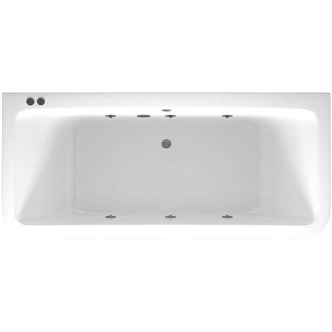 D Shaped 6 Jet Chrome V-Tec Whirlpool Bath 1800x800mm with Front and End Panels