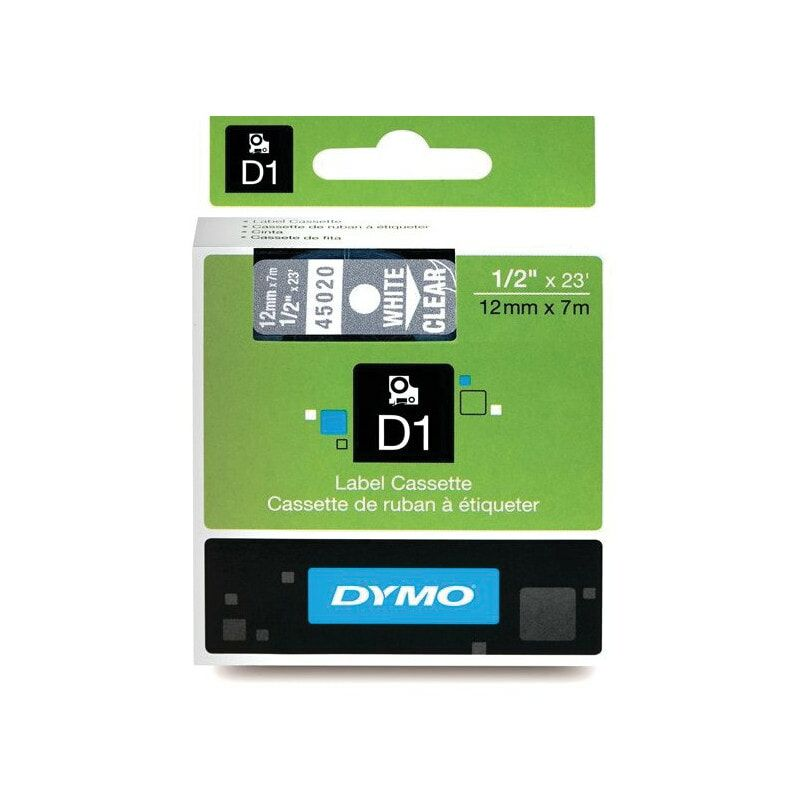 Image of D1 Tape 12MM White on Clear 45020 - Dymo