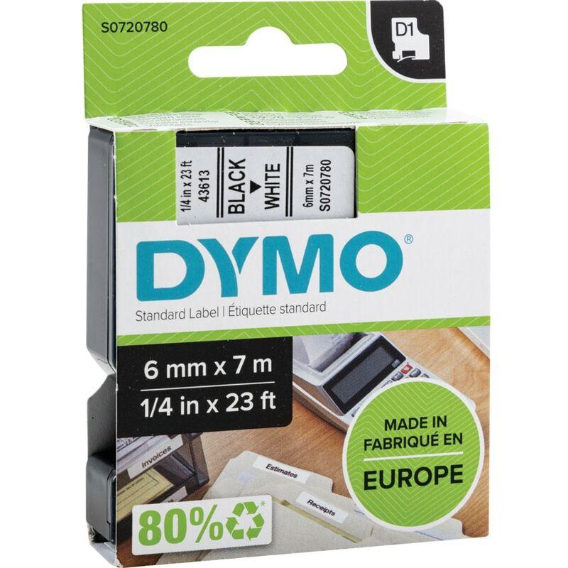 Image of D1 Tape 6MM Black on White 43613 - Dymo