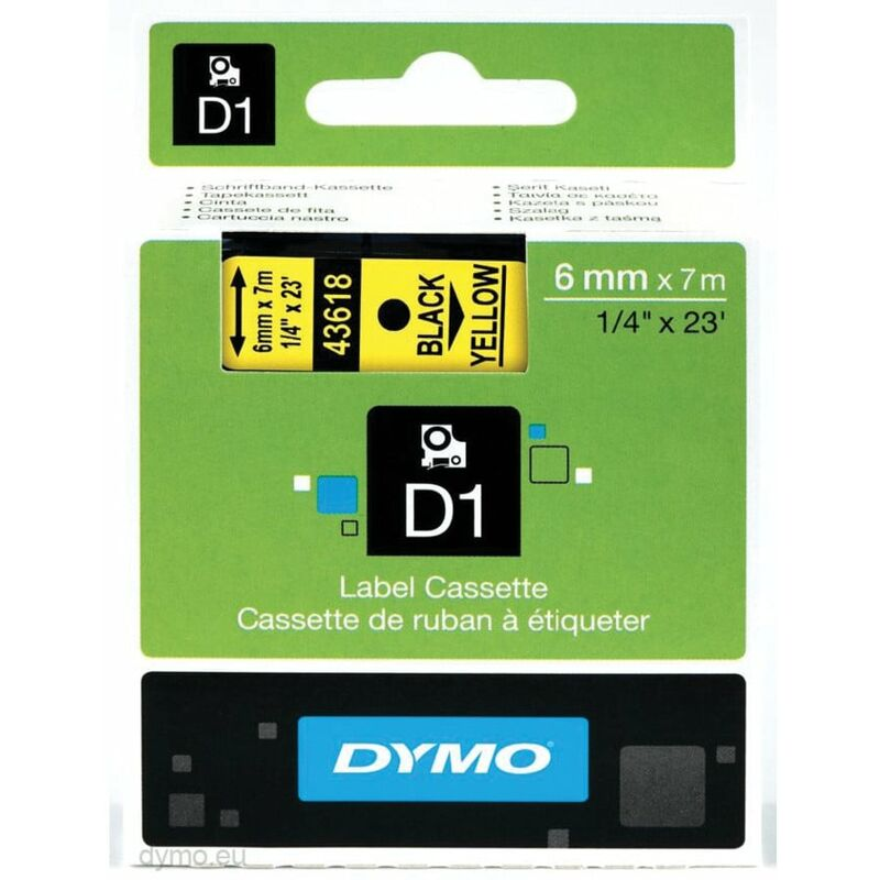 Image of D1 Tape 6MM Black on Yellow 43618 - Dymo