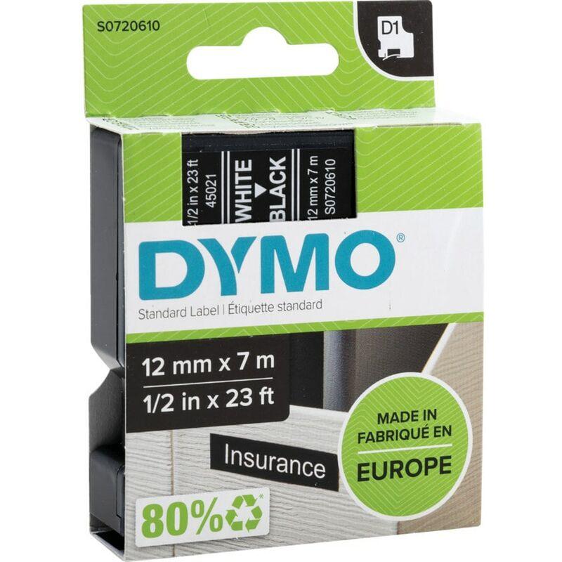 Image of D1 Tape 12MM White on Black 45021 - Dymo
