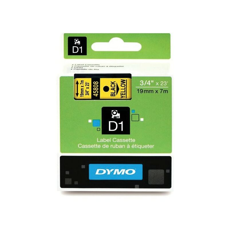 Image of D1 Tape 19MM Black on Yellow 45808 - Dymo
