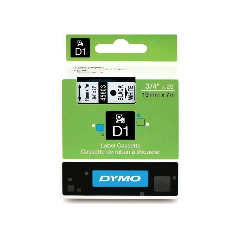 Image of D1 Tape 19MM Black on White 45803 - Dymo