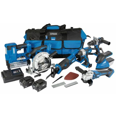 D20 20V Jumbo Kit (7 Piece) (+1 x 3Ah Batteries, 1 x 5Ah Battery, Charger and Wheeled Tool Bag)
