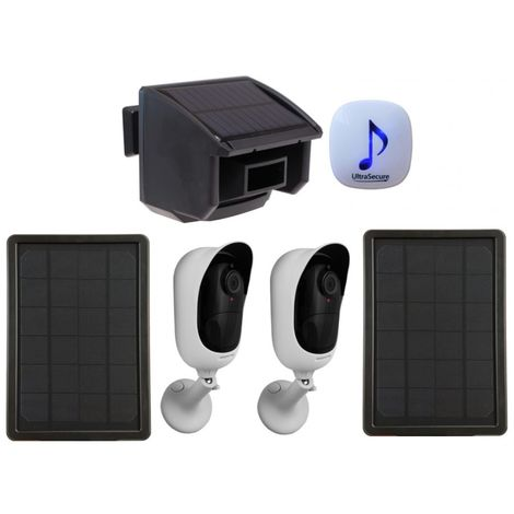 DA600 Wireless Garden & Driveway Alarm & 2 x Solar Powered Wi-fi Cameras [014-0460]