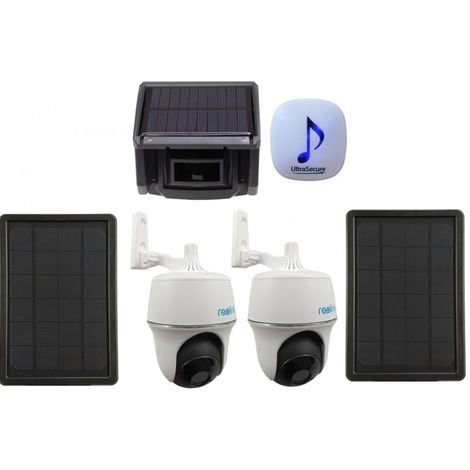 DA600 Wireless Garden & Driveway Alarm & 2 x Solar Powered Wi-fi PT Cameras - Add 16 GB TF Micro SD Card Please [014-0470]