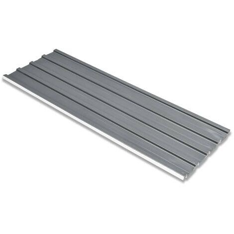 Dachpaneele 12 Stück Verzinkter Stahl Grau