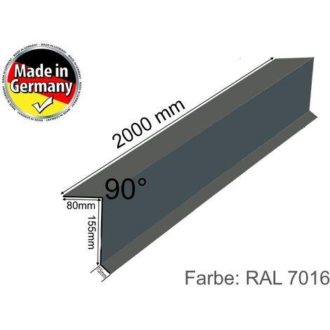 Dachrand-Blech Dach-Abschluss-Blech Ortgang-blech Alu Anthrazit Grau 80 x 155 mm